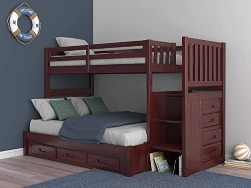 Merlot Twin Over Full Mission Staircase Bunk Bed