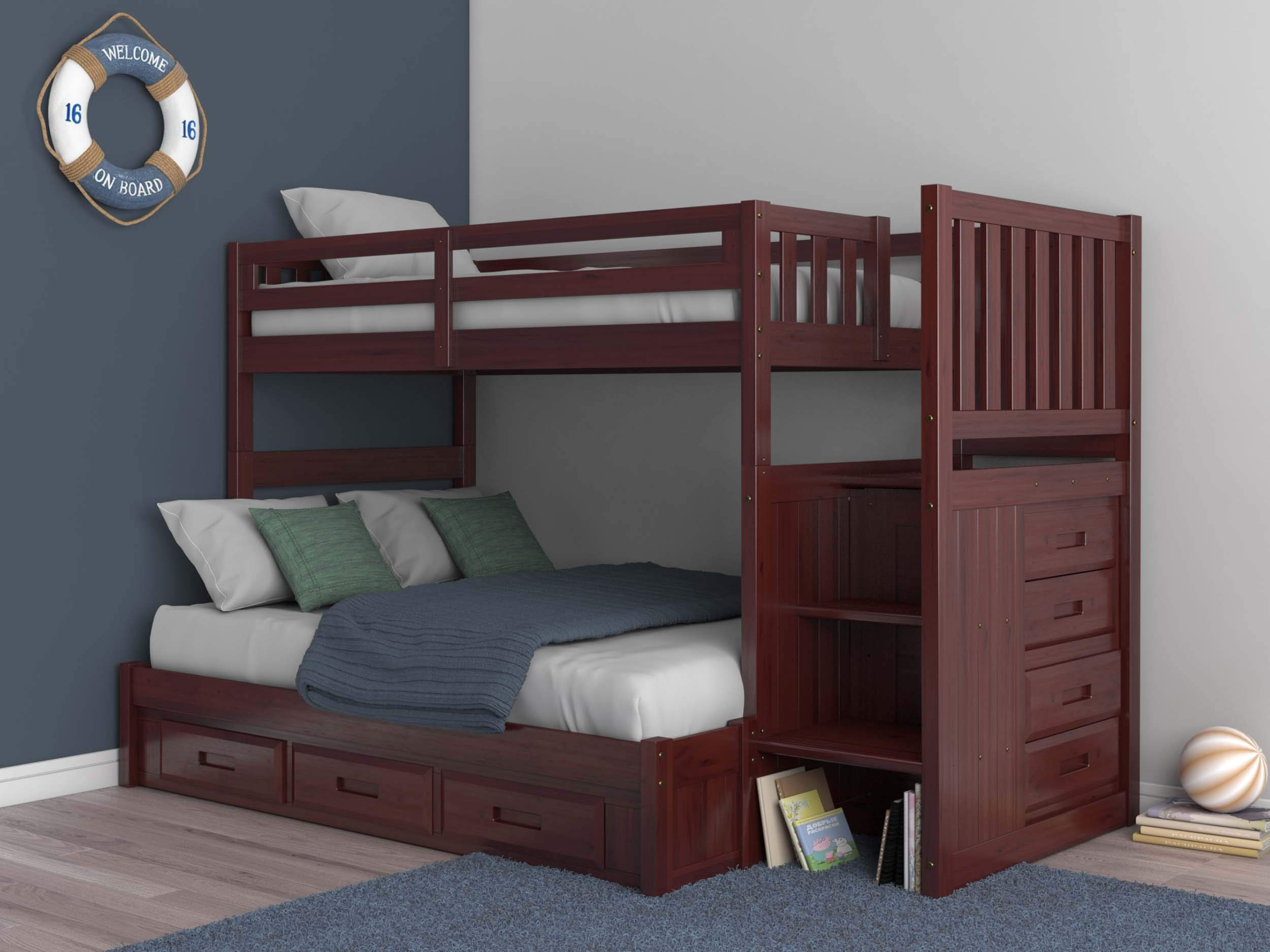 Merlot Twin Over Full Mission Staircase Bunk Bed with 3 Drawers by Discovery World Furniture
