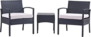 PCAFRS Patio Furniture Set 3 PCS, Outdoor Chairs 3 Set, Outdoor Wicker Rattan Conversation Set with Coffee Table, Chairs & Thick Cushions, Conversation Chair Set for Garden, Porch, Poolside (Grey)