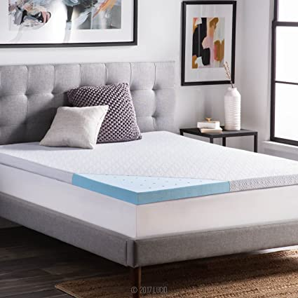 Amazon lucid 25 inch gel infused ventilated memory foam lucid 25 inch gel infused ventilated memory foam mattress topper with removable tencel blend cover 3 solutioingenieria Image collections
