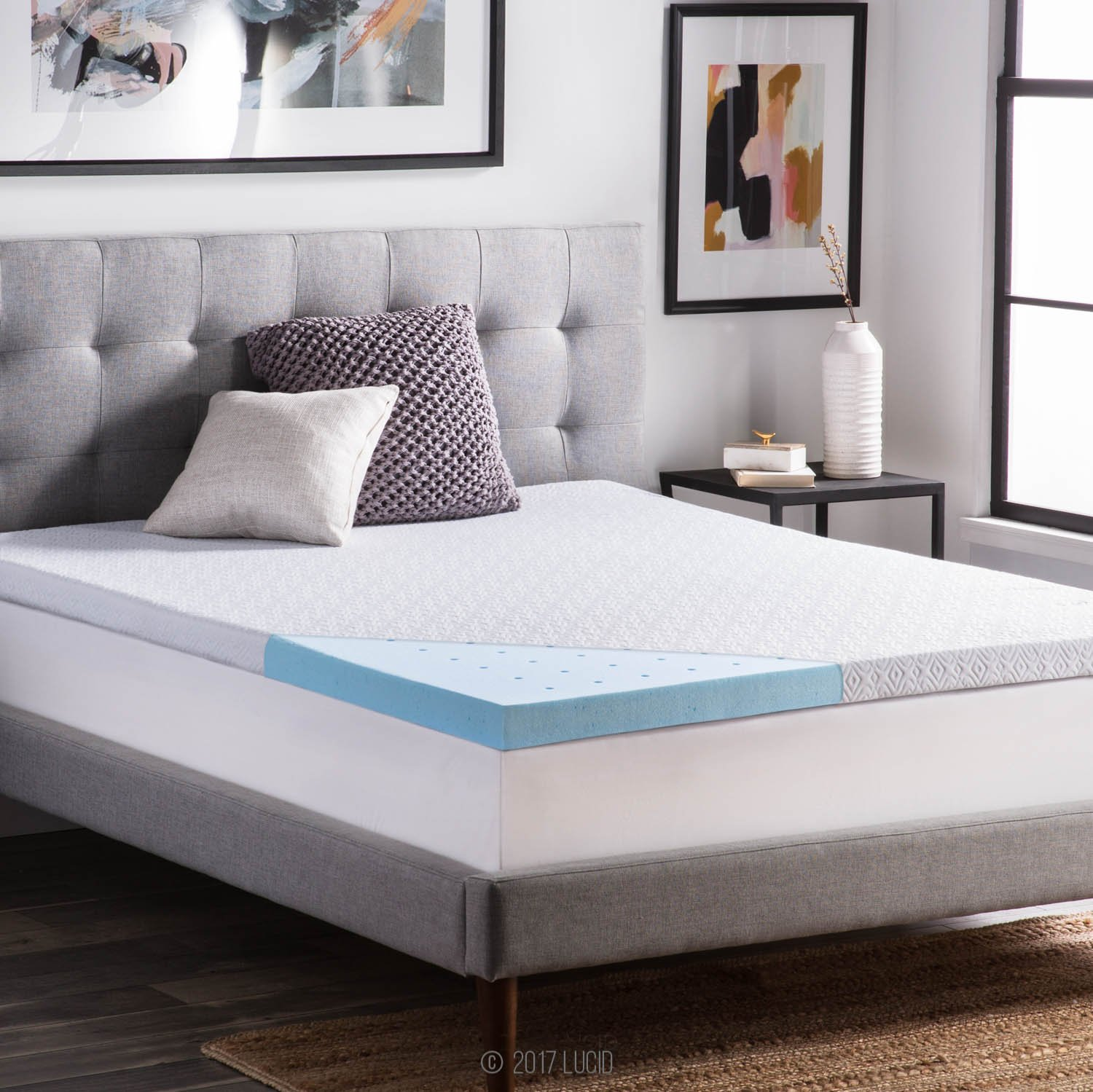 LUCID 2.5 Inch Gel Infused Ventilated Memory Foam Mattress Topper with Removable Tencel Blend Cover 3-Year U.S. Warranty - Twin XL Size