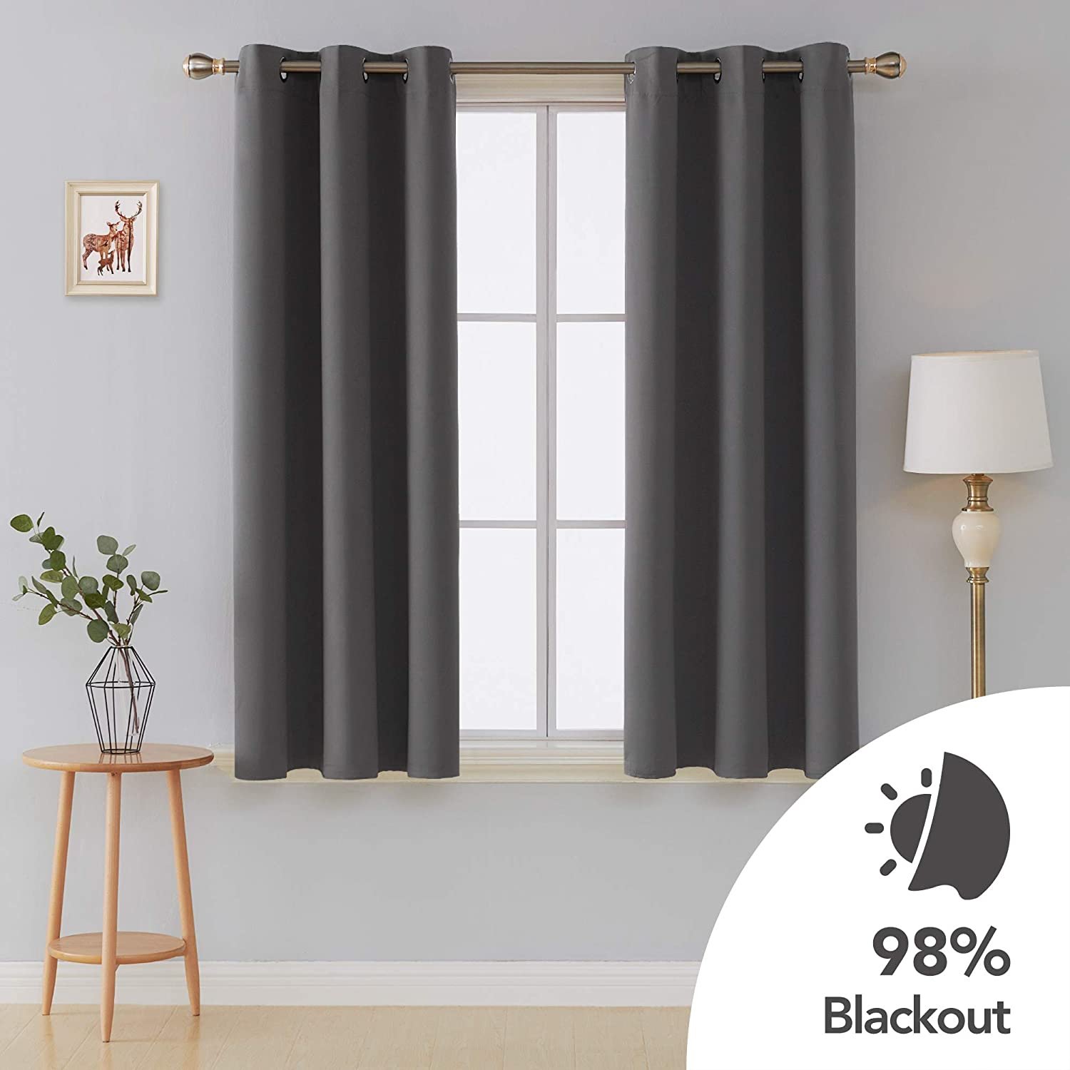 Deconovo Room Darkening Thermal Insulated Blackout Grommet Window Curtains Panels Set of 2 for Living Room Dark Grey 42x63 Inch