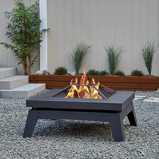 Real Flame Breton - Chimenea de madera, color gris: Amazon.es: Jardín