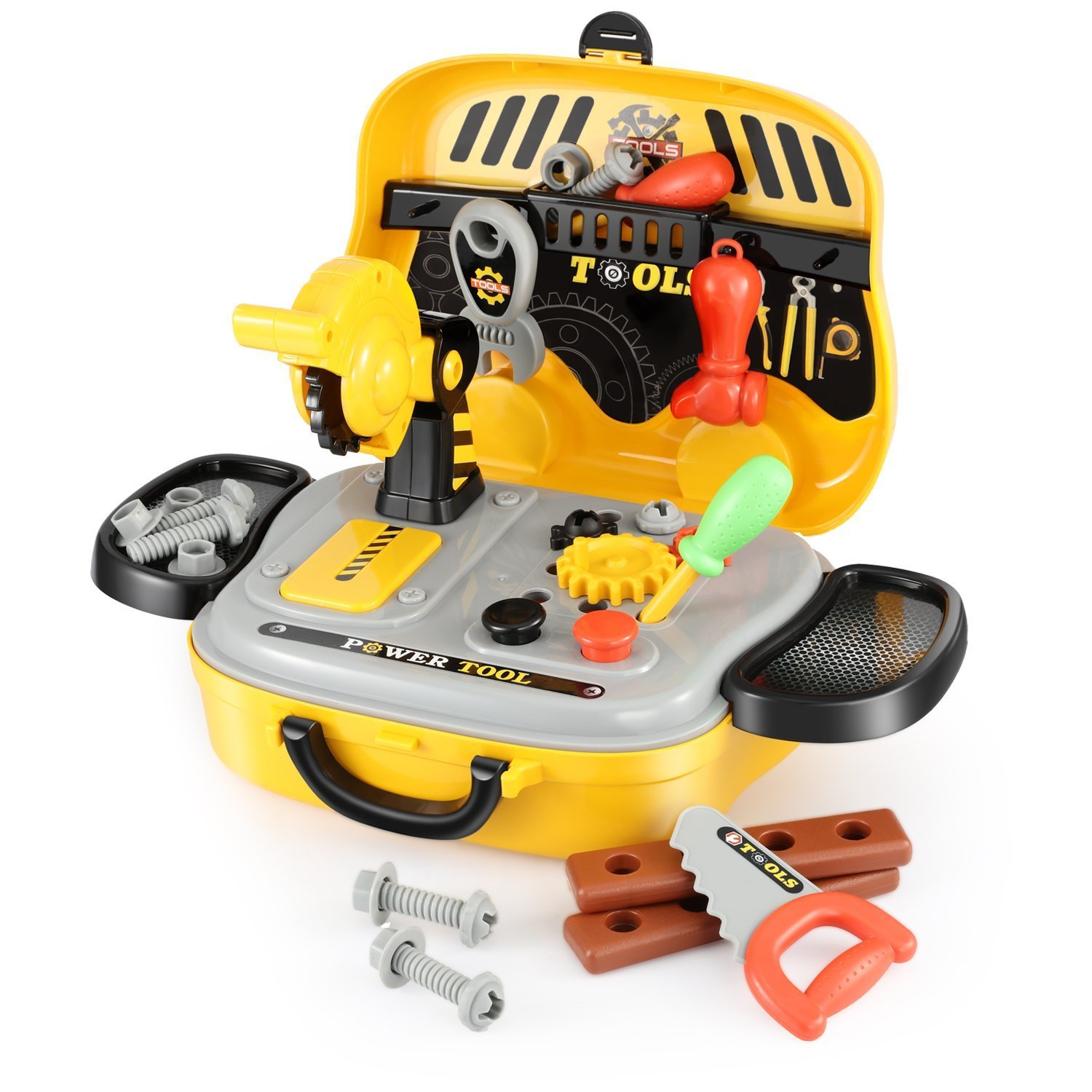 Tool Sets for Children with Carrycase Workbench Accessories Role Play Toy Gift for Boys Girls