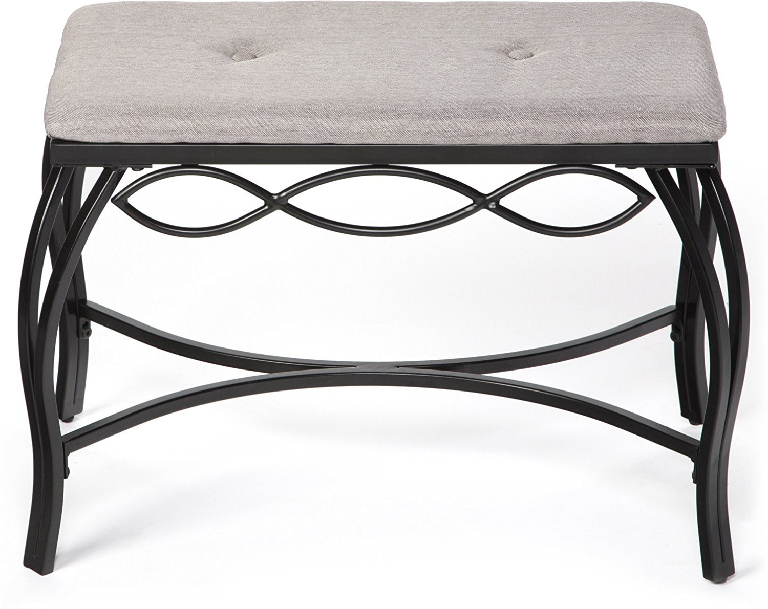 Mango Steam Bristol Shoe Bench - Heather Grey - Texture Woven Fabric Top and Durable Steel Legs