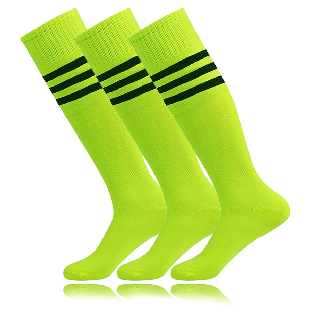 Unisex Tube Dresses Athletic Hockey Tube Soccer Socks Neon Yellow for High School Students El lunes en la red Porristas Baile April Fool's Day (3Pairs-Fluorescence Green) by MOAIR