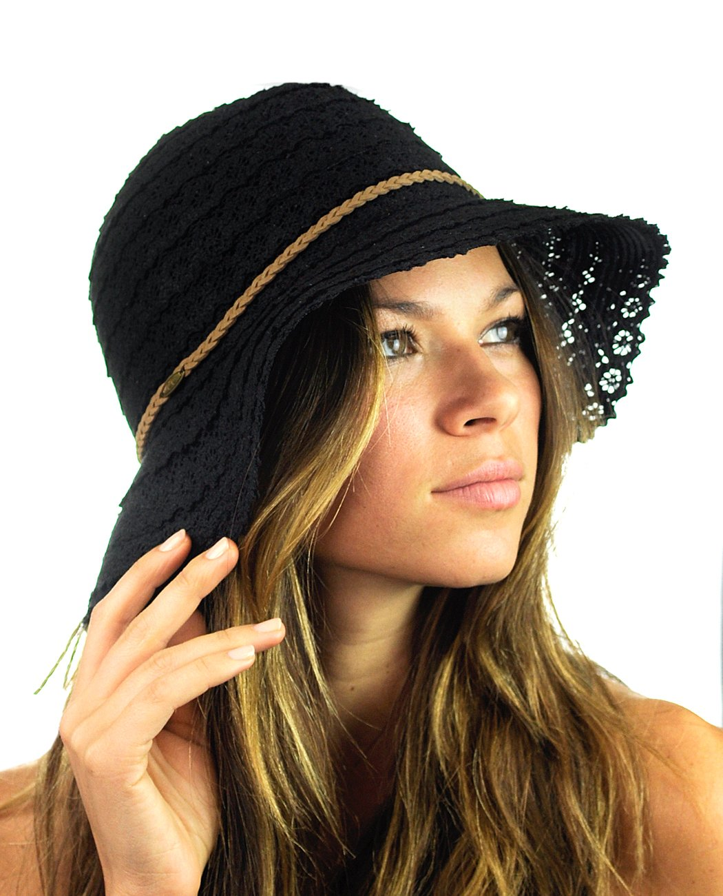79fcb6a4ab1 NYFASHION101 Open Knit Brown Braided Trim Vented Cotton Beach Sun Hat  product image