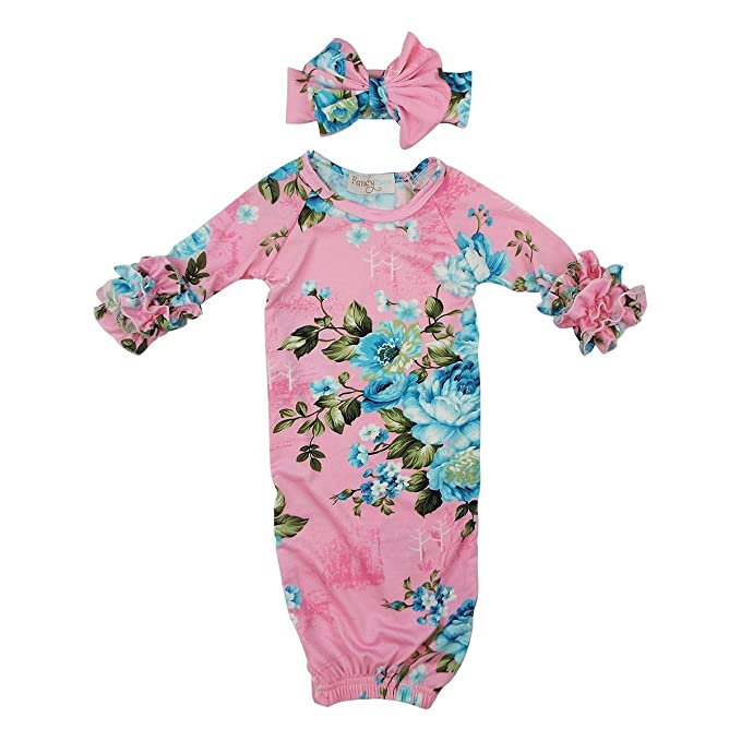 Amazon.com: Fancy Pants Pink Floral Infant Layette Gown: Sports ...