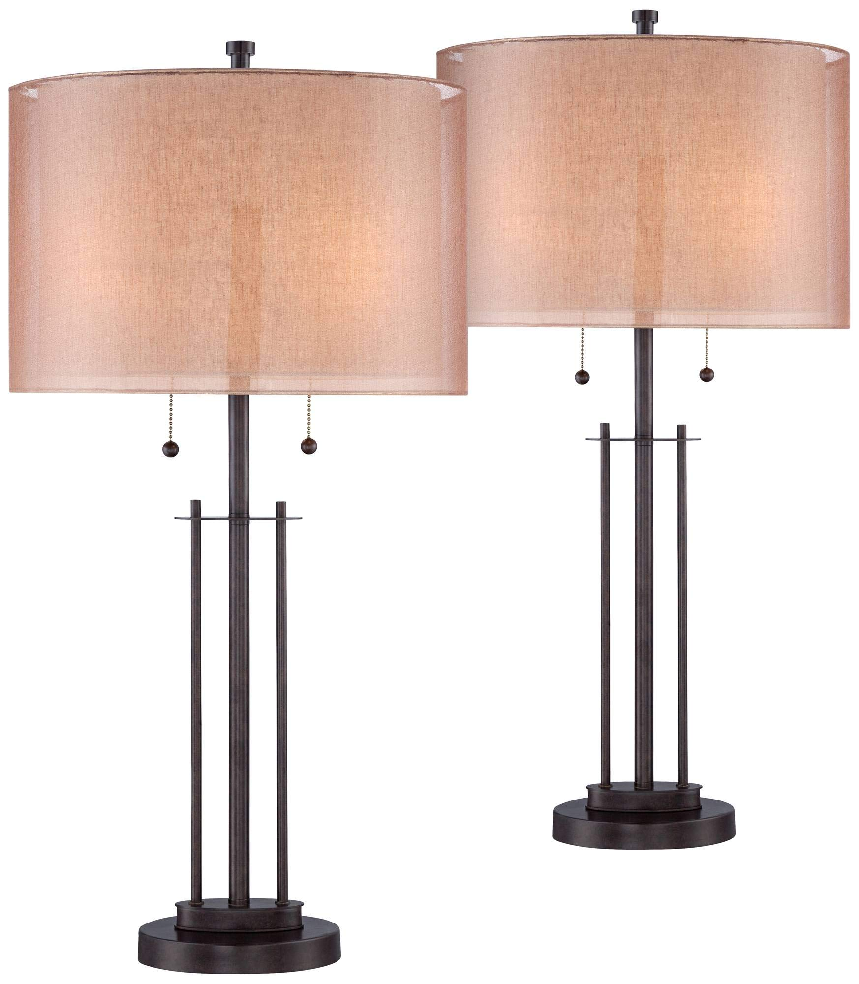 Modern Table Lamps Set of 2 Bronze Metal Open Base Double Drum Shade for Living Room Family Bedroom Bedside - Franklin Iron Works