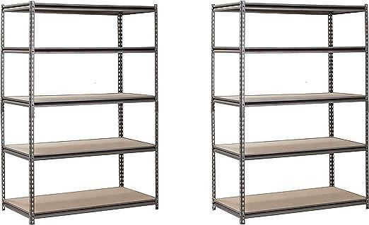 Hardware /& Outdoor Heavy Duty Garage Shelf Steel Metal Storage 5 Level Adjustable Shelves Unit 72 H x 48 W x 24 Deep Pack of 2