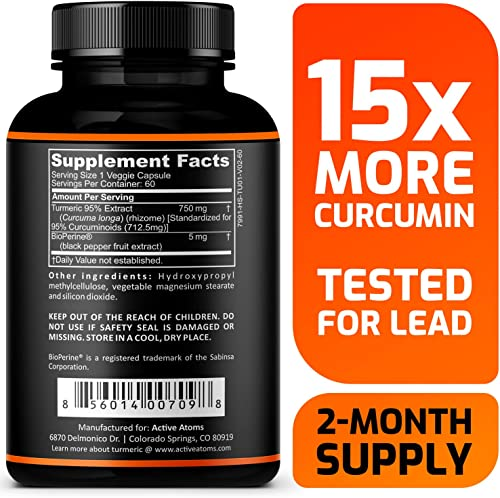 Active Atoms Turmeric Extract w Bioperine Extra Strength w 15X More Turmeric Curcumin Anti-inflammatory Support for Stiff and Achy Joints – Third-Party Tested for Lead – 2 Month Supply