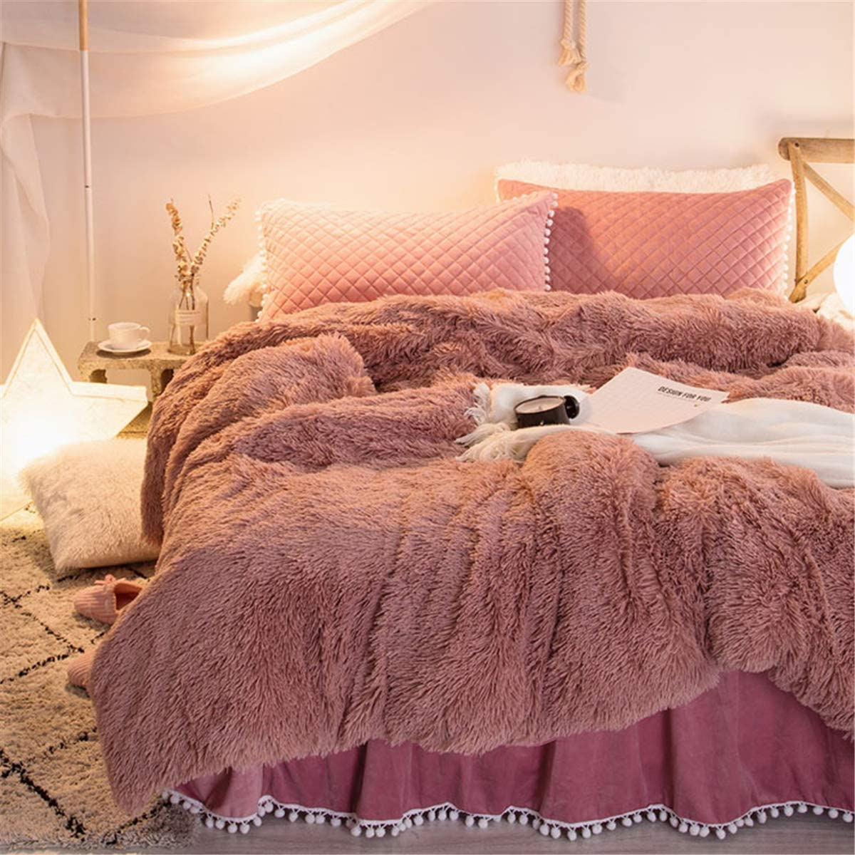Moowoo Furry Shaggy Bedding Set,3PCS Velvet Flannel Duvet Cover Set,1 Faux Fur Duvet Cover + 2 Pompoms Fringe Pillowcases (Dusty Rose, Queen)