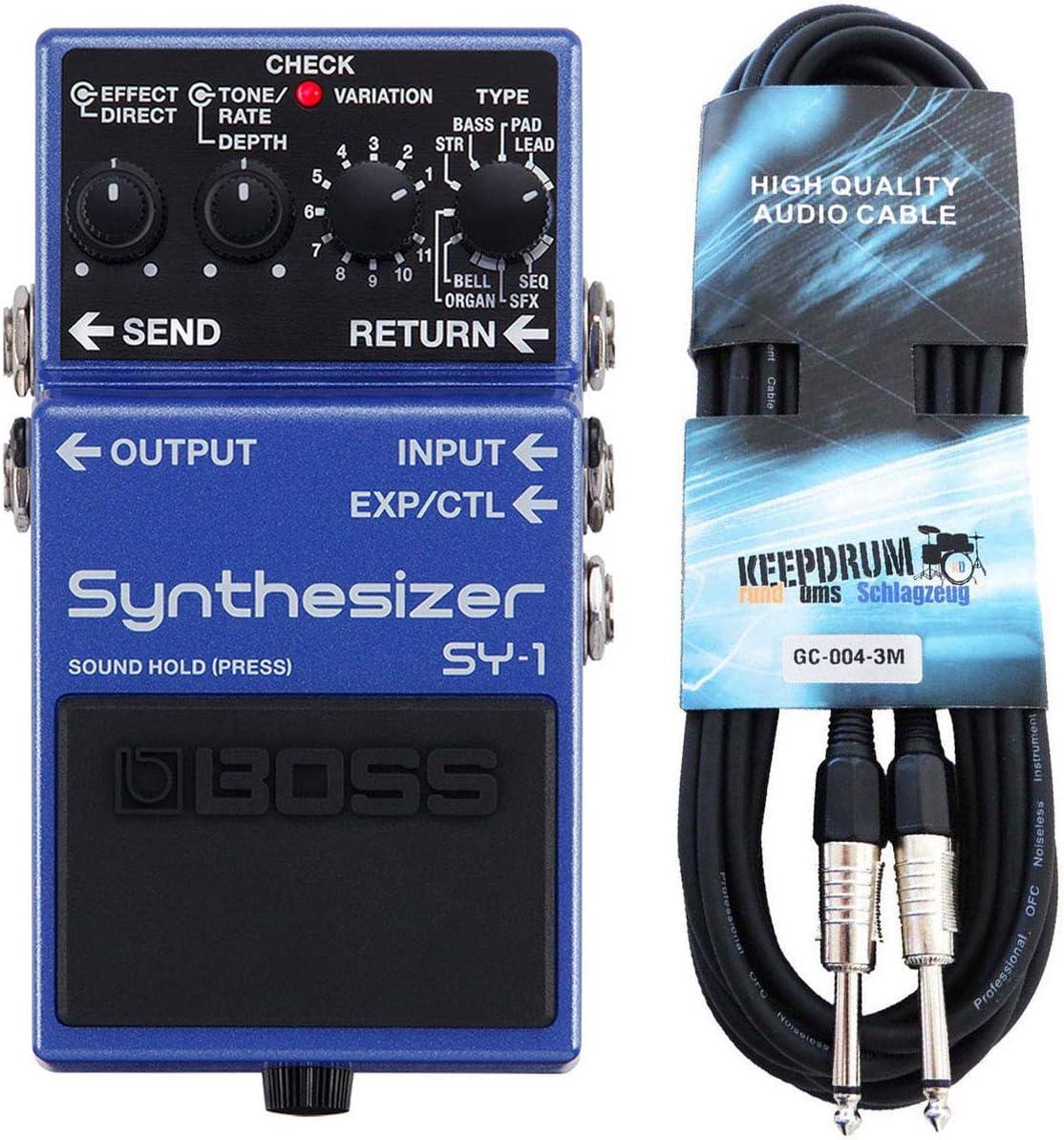Boss SY-1 - Sintetizador para guitarra y bajo (incluye cable de 3 m)