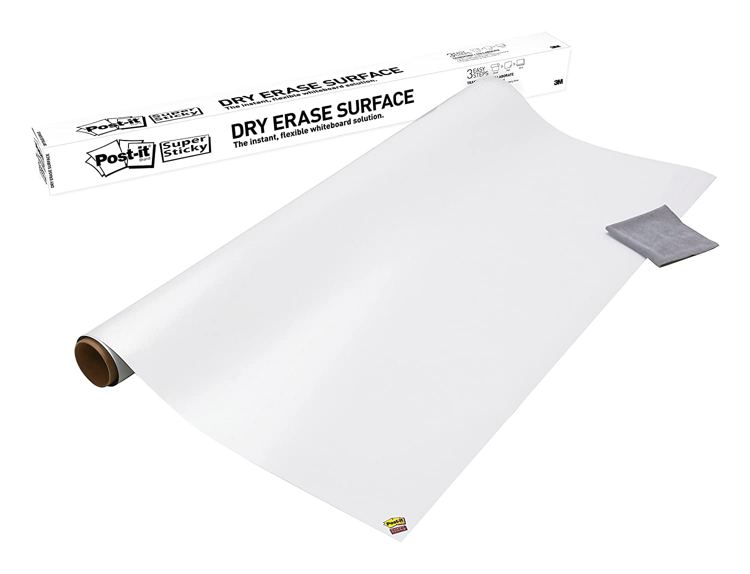 Post-it Dry Erase Whiteboard Film Surface for Walls, Doors, Tables, Chalkboards, Whiteboards, and More, Removable, Super Sticky, Stain-Proof, Easy Installation, 3 ft x 2 ft Roll (DEF3X2A) 3M Office Products