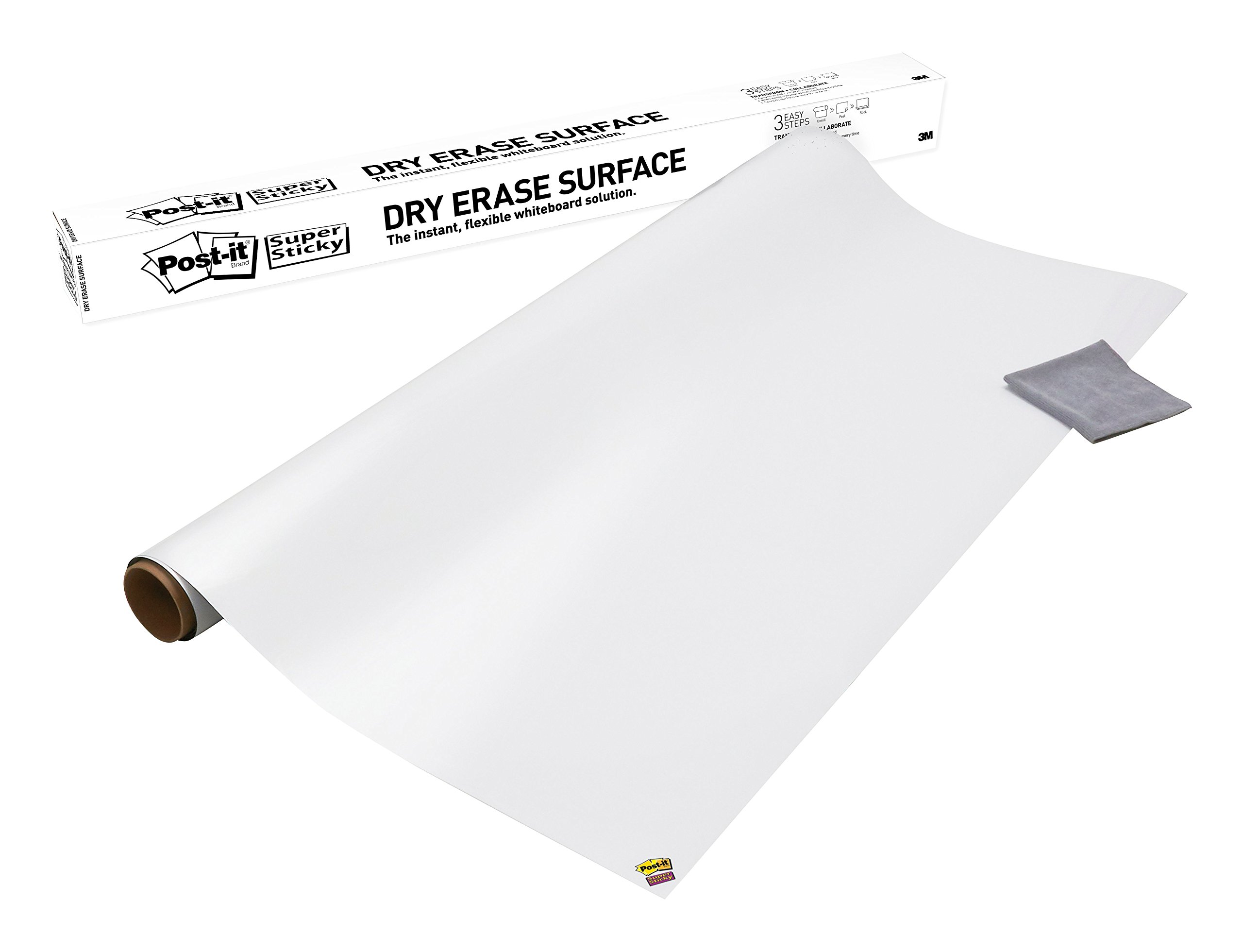 Post-it Dry Erase Whiteboard Film Surface for Walls, Doors, Tables, Chalkboards, Whiteboards, and More, Removable, Super Sticky, Stain-Proof, Easy Installation, 8 ft x 4 ft Roll (DEF8X4A)