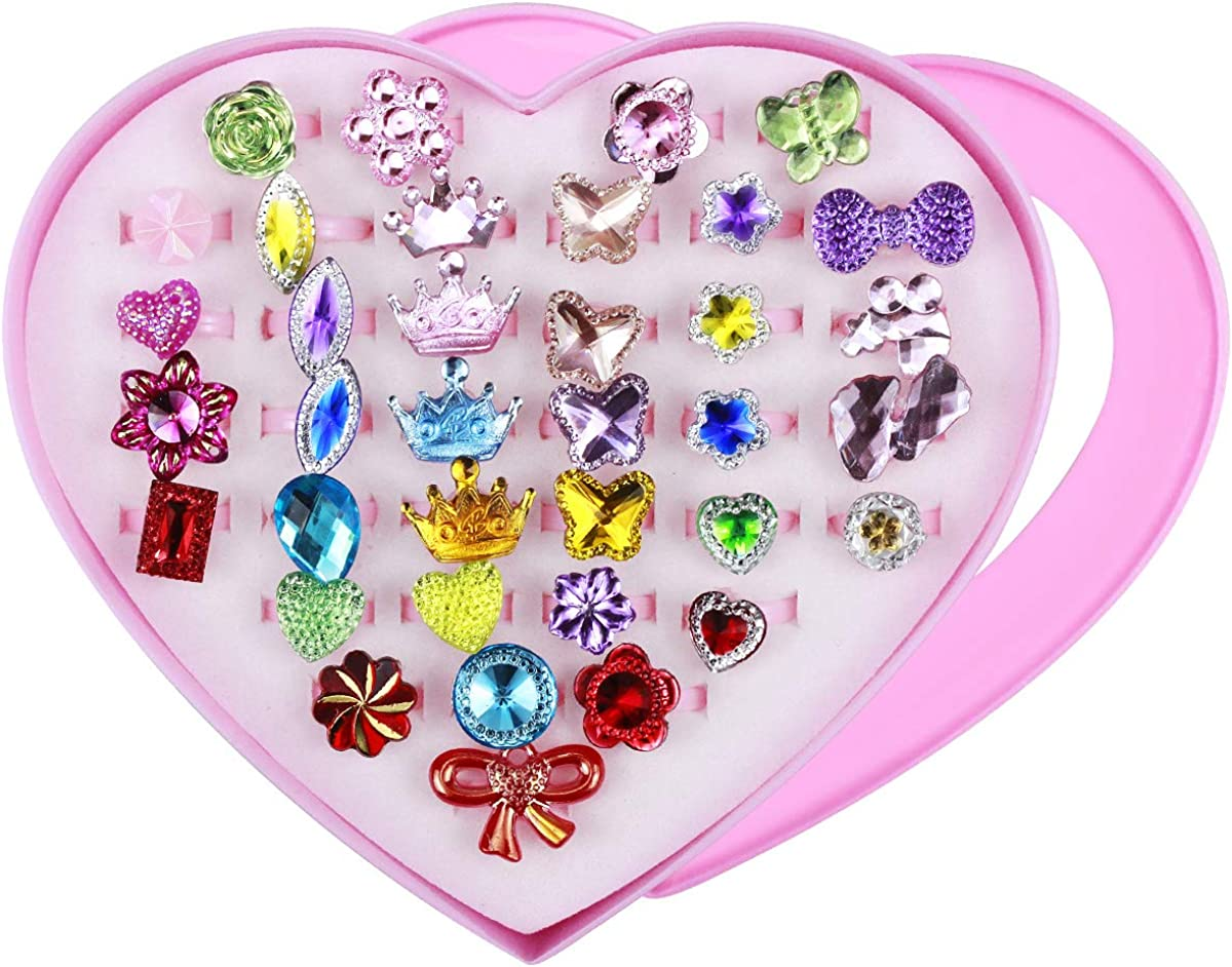 NATUCE 36 Piezas Anillos Niñas Ajustables Joyas Juguete Niña Anillos Niña Juguete con Caja en Forma de Corazón para Los Favores de la Fiesta de Cumpleaños de Los Niños