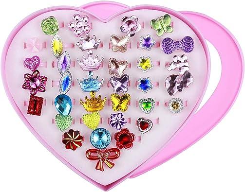 Bagues Princesse Bijoux avec bo/îte en Forme de Coeur NATUCE 36 Pcs Anneaux Bagues pour Filles Girl Semblant de Jouer et Habiller des Anneaux pour Enfants Filles