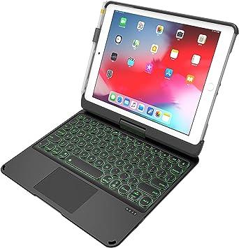 Funda Teclado para iPad 9.7 2017 y 2018 / iPad Air 1 y 2 / iPad Pro 9.7, Estuche Blando Desmontable, Estuche para iPad de 360 Colores con ...