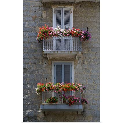 Amazon.com: Great Big Canvas Poster Print Entitled France, Corsica, Flower Boxes On Window Balconies, House in Sartene by Scott T. Smith 30
