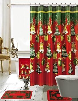 Set de baño navideño bordado de 18 piezas, 1 alfombra de baño, 1 alfombra de contorno ...