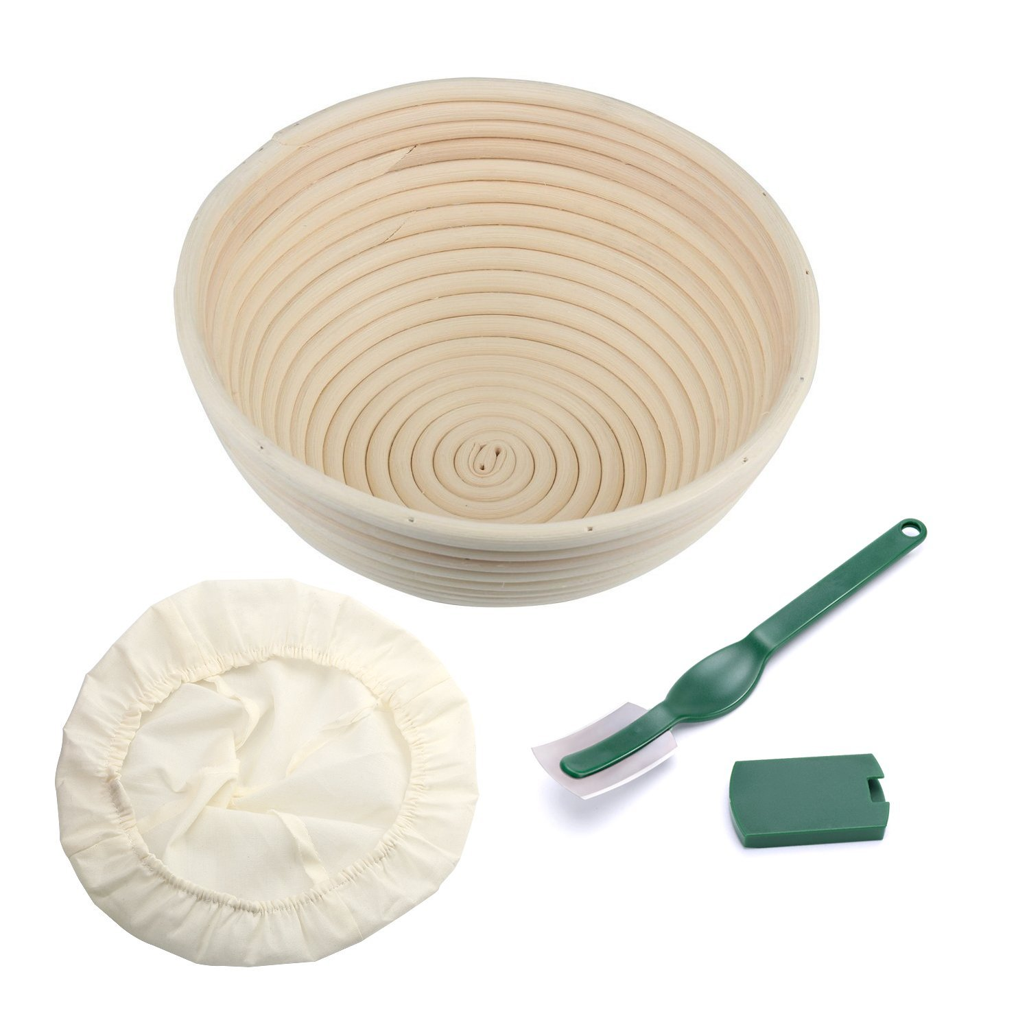 Round Bread Proofing Basket, OAMCEG Banneton Proofing Basket & Dough Scraper Set,Sourdough Proofing Basket Set with Cloth Liner (8.5 inch)