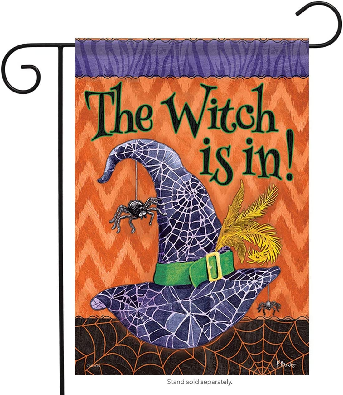 The Witch is in Halloween Garden Flag Spider Web Double Sided 12.5 x 18