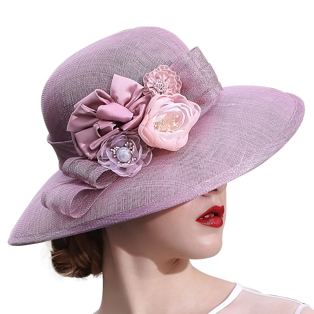 KUEENI Women Hats Church Hats Elegant Lady Sinamay Hats Black Color (Purple) by KUEENI (Image #1)