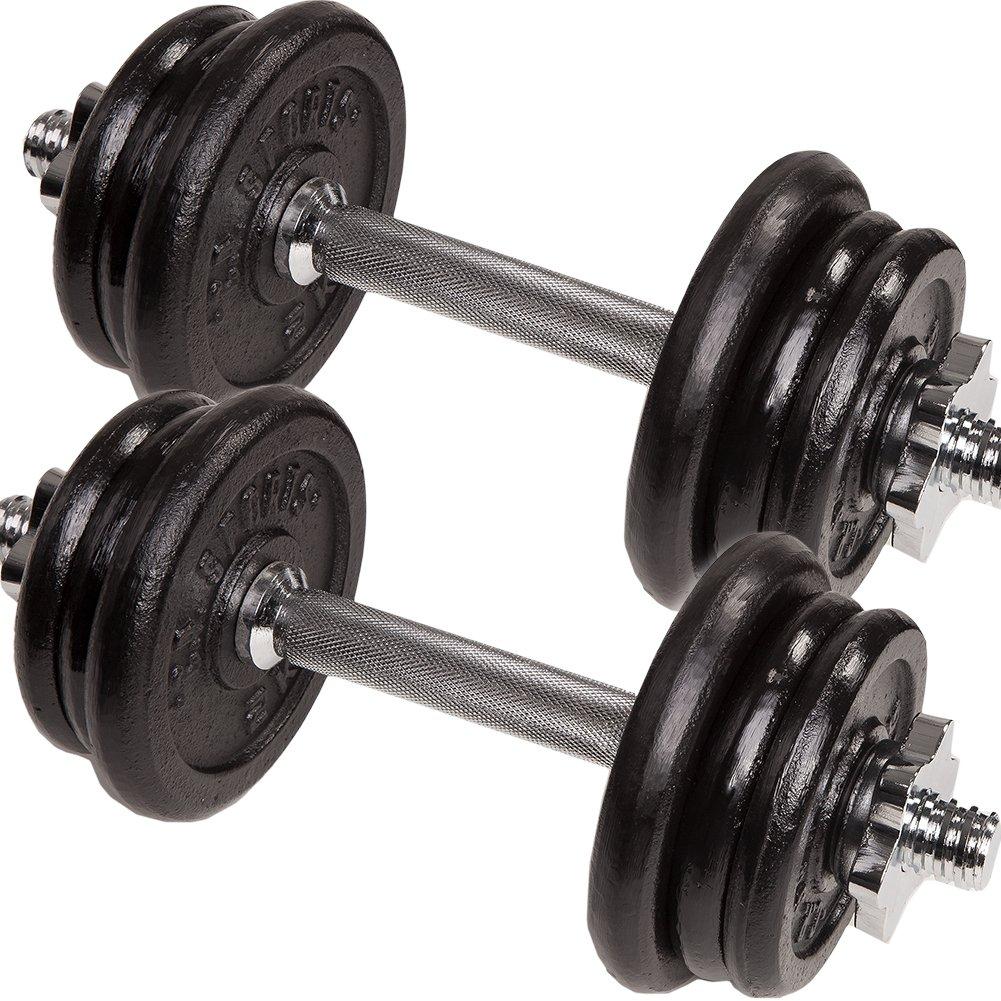 C. P. Sports – mancuernas de hierro fundido y plástico (10 kg, 15 kg, 20 kg, 30 kg), 2 x 10kg Guss Set: Amazon.es: Deportes y aire libre