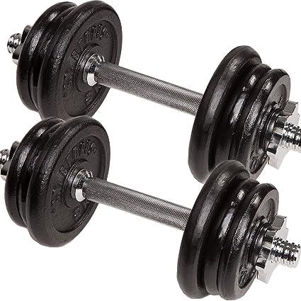 C. P. Sports – mancuernas de hierro fundido y plástico (10kg