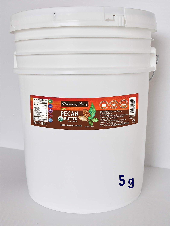 Wilderness Poets Pecan Butter with Cashews - Organic & Raw - Bulk Pecan Nut Butter - 5 Gallon Pail - 40 lb (640 oz)