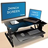 """Adjustable Height Desk Riser, Costech Wide Stand Up Computer Workstation; 32"""" Sit Stand Desktop Laptop Table; Durable Aluminum Metal Frame & MDF Table Top Convertible, Ergonomic Rising"""