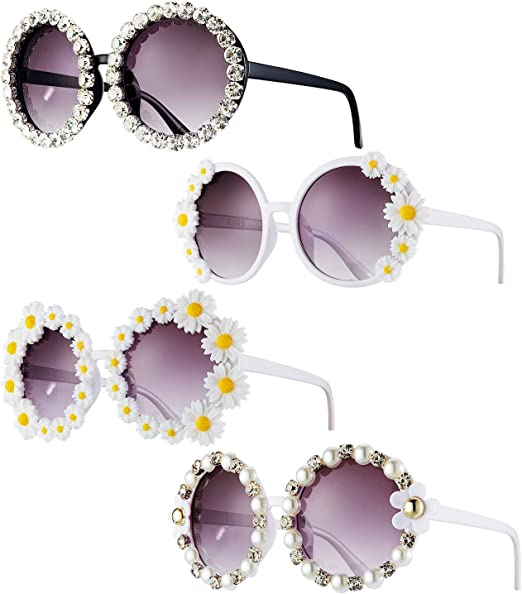 Amazon Com Gafas De Sol De Margarita 4 Piezas Diseño De Flores De Diamantes De Imitación Estilo Vintage Para Mujer Clothing