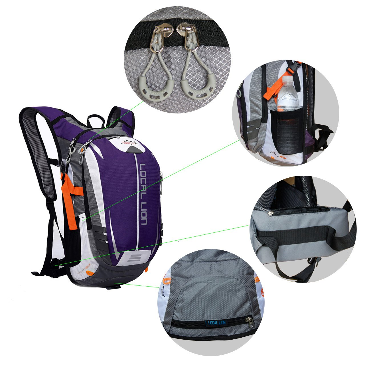 Outdoor Sports Cycling Hiking Camping Travel Daypack, Water resistant, 18L(purple) by YOGOGO (Image #5)