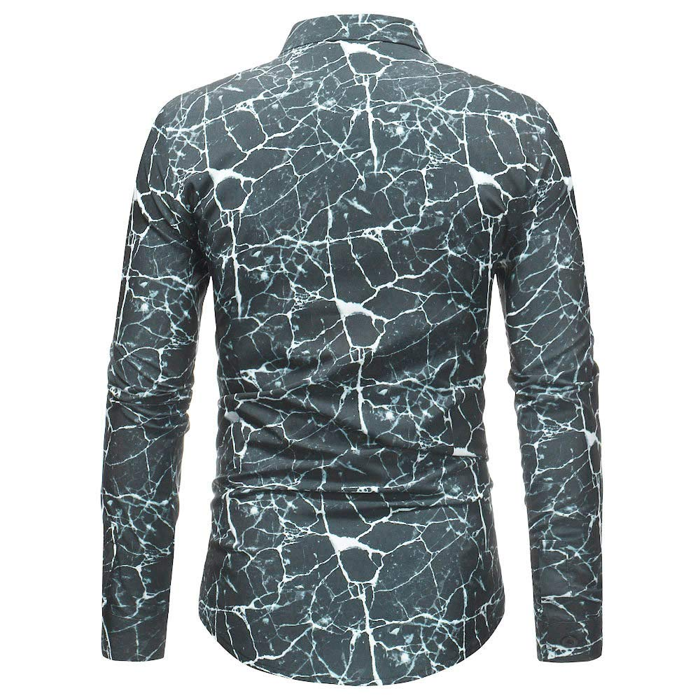 CieKen Men Blouse Man Retro Floral Printed Blouse Casual Long Sleeve Slim Shirts Tops