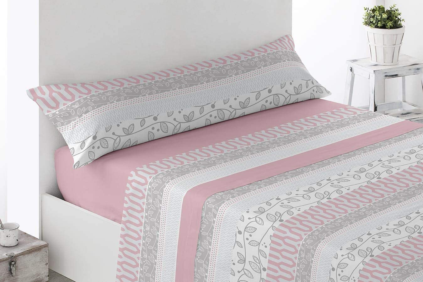 Energy Colors Textil - Hogar - Serie Ottawa - Juego Sábanas 3 Piezas Verano Tacto Super Soft (Rosa Higue, 150_x_200_cm)