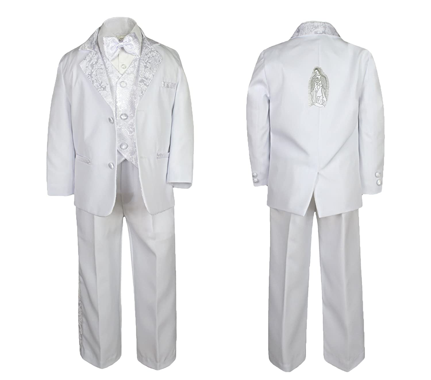 New Born Boy Christening Baptism White Tail Suit Silver Mary Maria on Back Sm-7