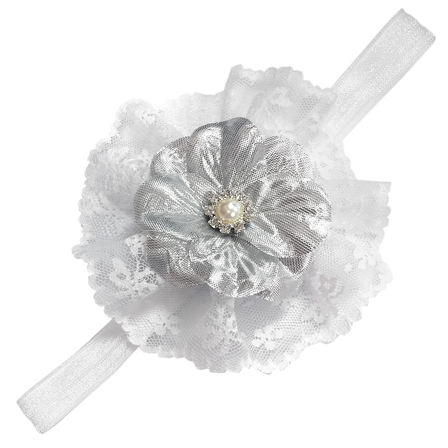 Amazon White Lace With Silver Flower Headband For Baby Girls 0