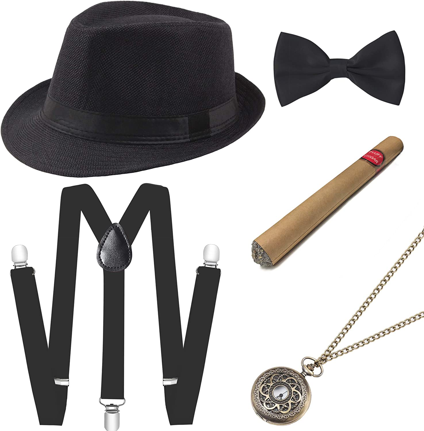 BABEYOND 1920s Mens Gatsby Gangster Accessories Set Panama Hat Suspender Bow Tie