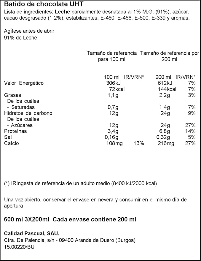 Pascual Batido Chocolate - Paquete de 3 x 20 cl - Total: 600 ml: Amazon.es: Amazon Pantry