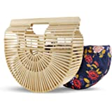 Bagish Bamboo Bag Handmade, Semi Circle Boho Basket – Straw Clutch Purse Beach Tote for Women