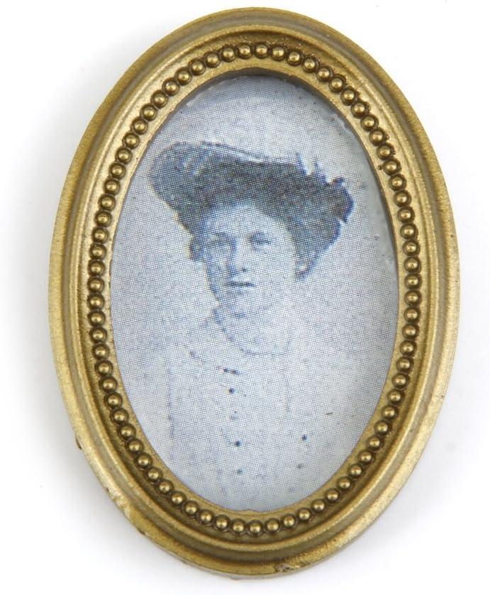 2Pcs//Set Dollhouse Miniature Victorian Gentleman Lady Picture Oval Photo FrameSP