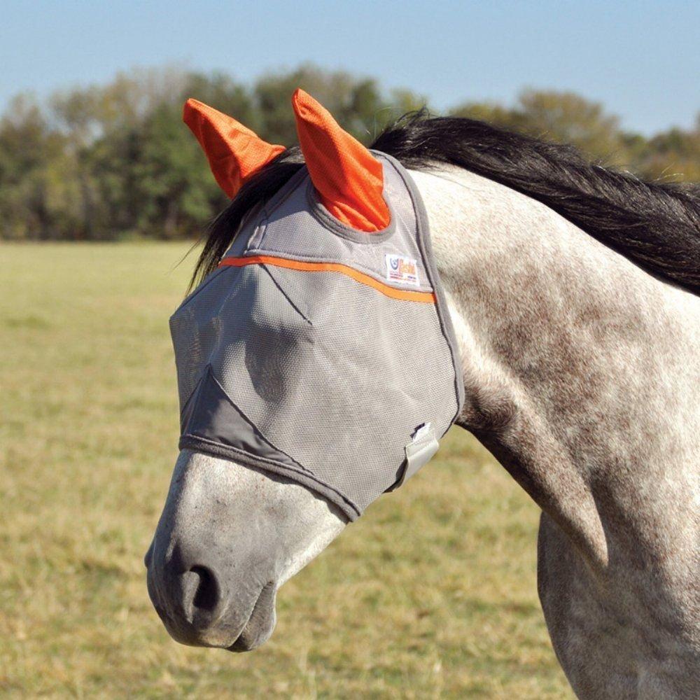 (Horse) Cashel Animal Rescue Benefit Fly Mask with Ears Size Horse Colour Grey orange
