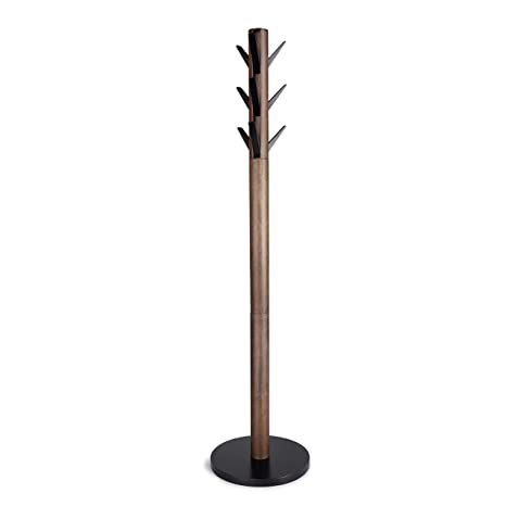 Umbra Flapper Coat Rack, Clothing Hanger, Umbrella Holder, and Hat Organizer, Great for Entryway, Black/Walnut