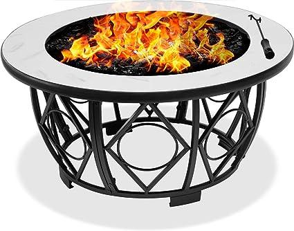 certifi/é reconditionn/é Table Basse Barbecue et Seau /à Glace avec Blanc Carreaux de c/éramique Centurion Supports Navaro Premium Multifonctions 360//° Jardin et Patio Ronde Brasero Brasero