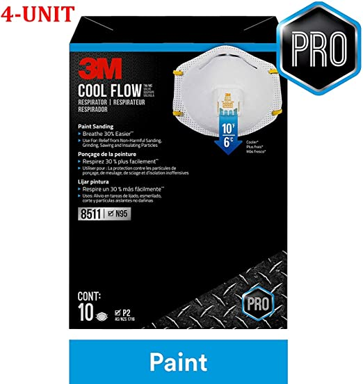 Respirator 4-unit 10-pack N95 Valve Flow 8511 Cool white