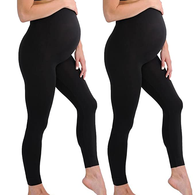 5fc5ca907bf61 Touch Me Black Maternity Leggings Soft Solid Stretch Seamless Tights One  Size Fits All (Maternity