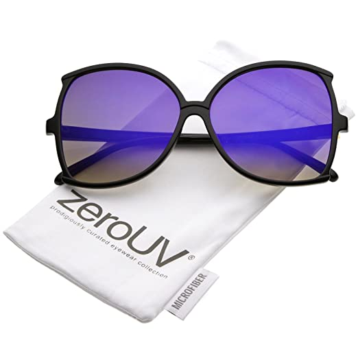 8d191235b36 zeroUV - Women s Oversize Slim Arms Colored Mirror Lens Butterfly Sunglasses  61mm (Black Blue