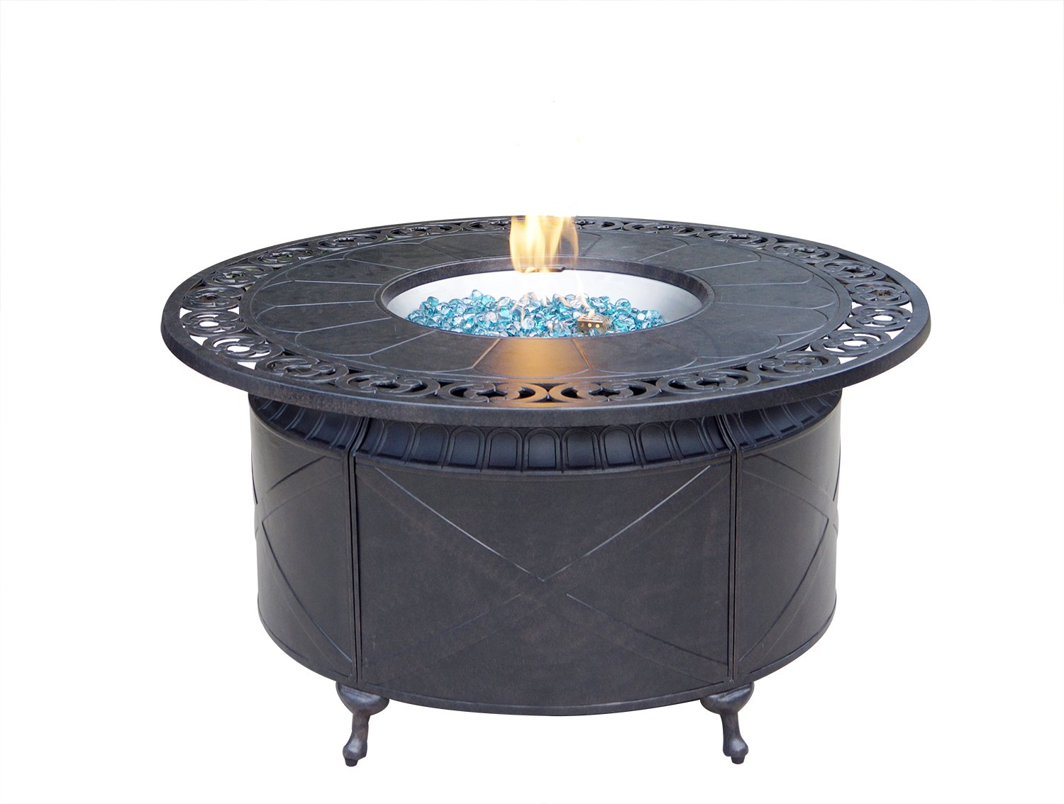 AC HOME & PATIO AC35-QB Round Propane Firepit Chat Table with Fire Glass, 47'', Desert Bronze Finish