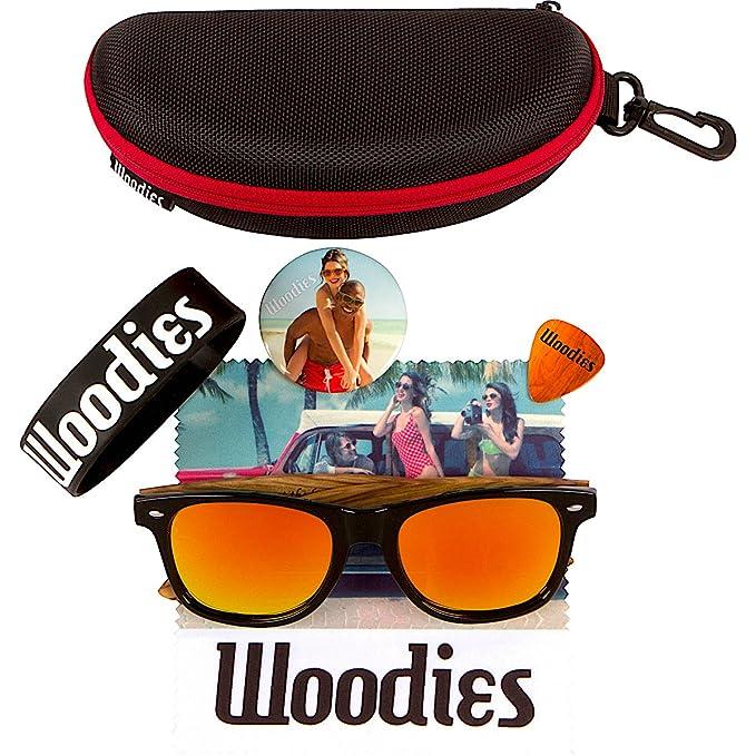 2ea52c6f173 Amazon.com  WOODIES Zebra Wood Sunglasses with Orange Mirror Polarized  Lens  Clothing