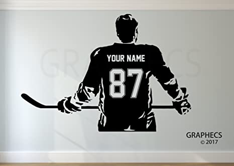 1c6274f3 Personalized Hockey Wall Decal Choose your NAME NUMBERS Custom Player  Jerseys Vinyl Decal Sticker Decor Kids Bedroom, Wall Stickers & Murals -  Amazon Canada